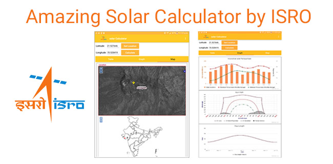 Amazing Solar Calculator Android App developed by ISRO