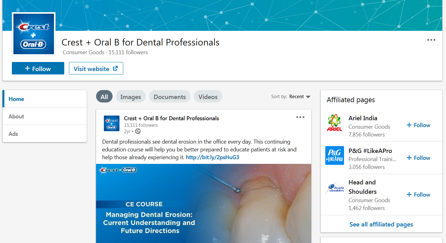 linkedin marketing tips you should know about: Crest & OralB