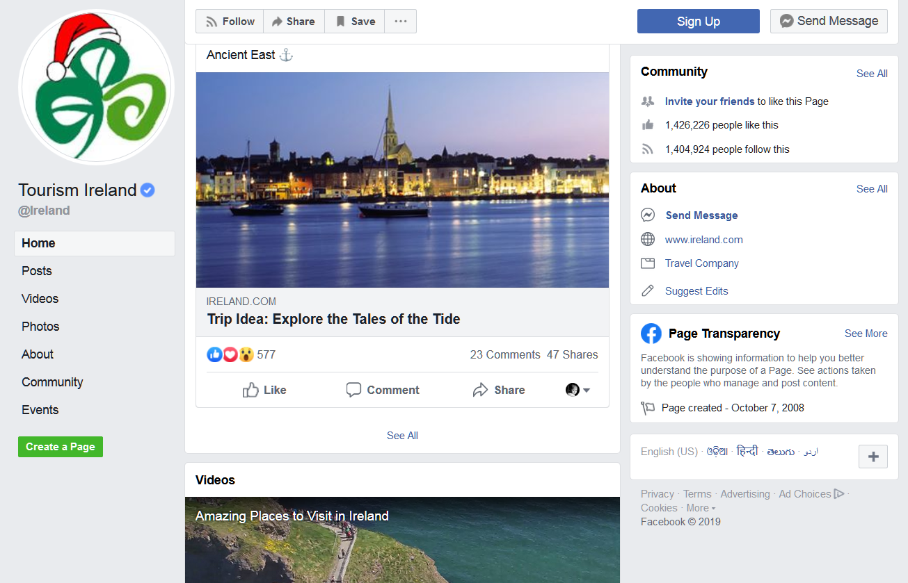 Social media marketing tips you should know about: tourism-ireland-fb